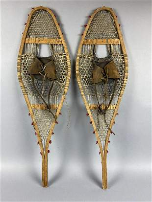 Pair of Vintage Wooden Snowshoes, leather bindings, in