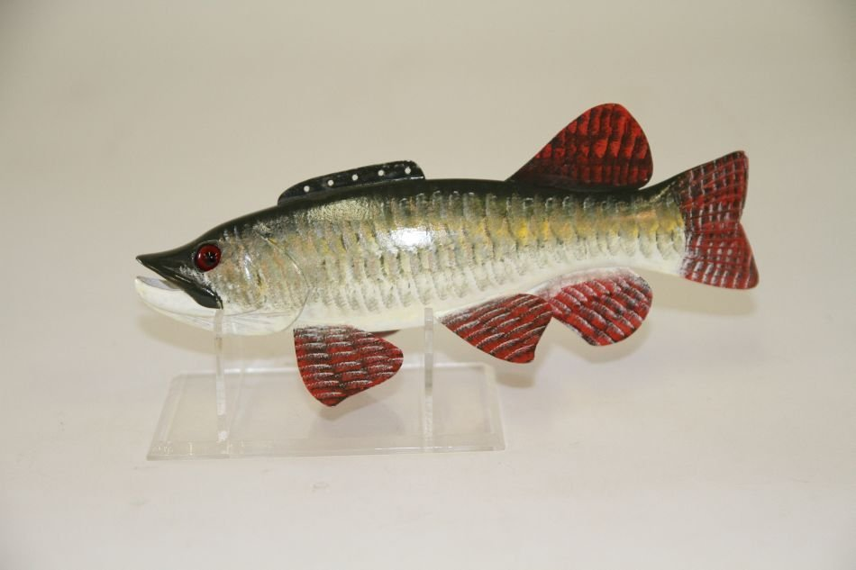 "9"" Musky Fish Spearing Decoy by Carl Christiansen of"
