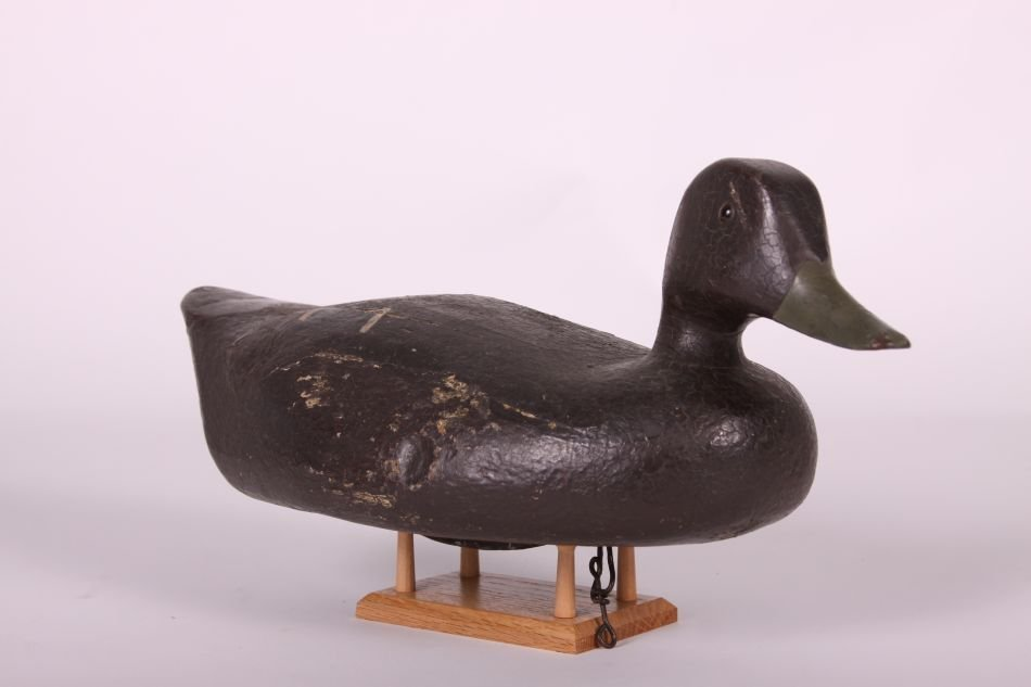 Black Duck Decoy by Fred Kressbach of Monroe, MI, Solid - 3