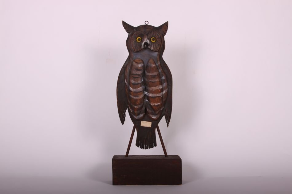 Rare Handcarved and Painted Folk Art Owl by Jim