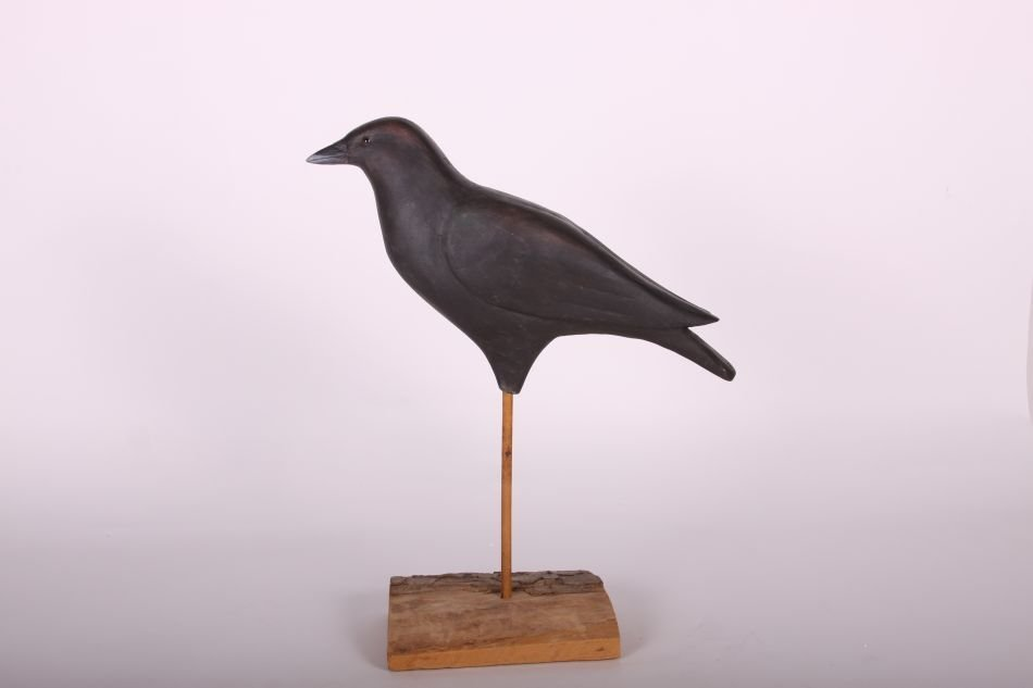 Crow Decoy by Dr. Lou Petrucco of Grosse Ile, MI, Solid