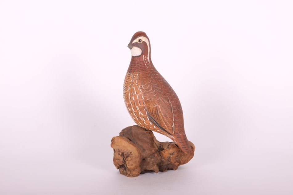 Handcarved and Painted Quail by Dr. Lou Petrucco of