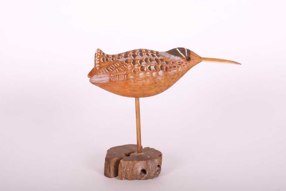 Handcarved and Painted Woodcock by Unknown Carver, - 4