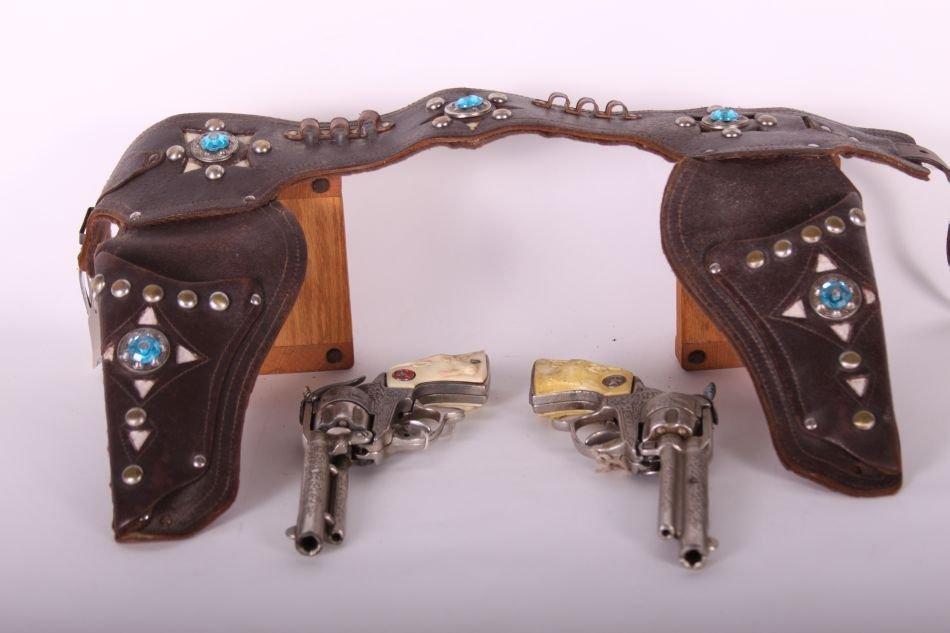 Pr of Hubley, Cast Iron, Texan Cap Guns, Cast Iron, w/ - 2