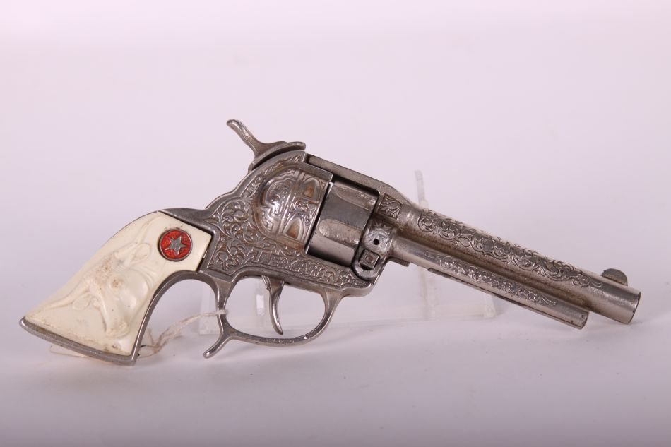 Pr of Hubley, Cast Iron, Texan Cap Guns, Cast Iron, w/ - 4