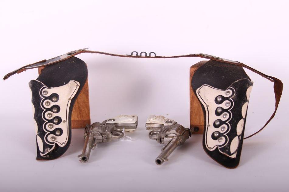 Pr of Hubley, Die Cast, Western Cap Guns w/ White Steer - 2
