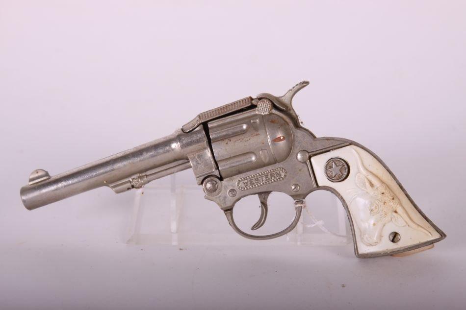 Pr of Hubley, Die Cast, Western Cap Guns w/ White Steer - 3