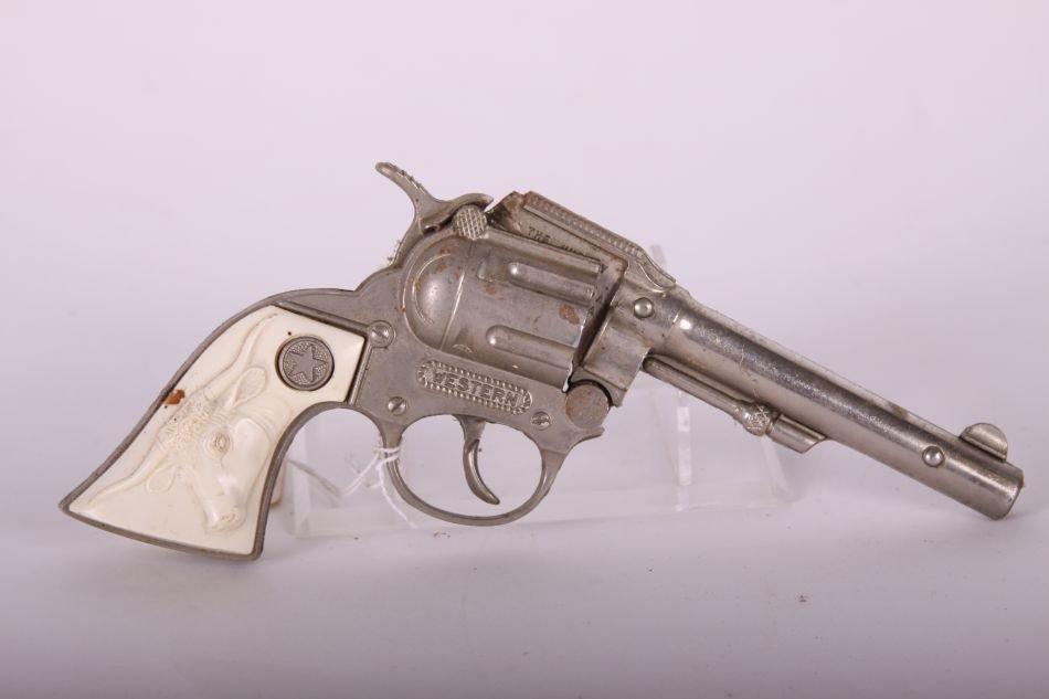 Pr of Hubley, Die Cast, Western Cap Guns w/ White Steer - 4