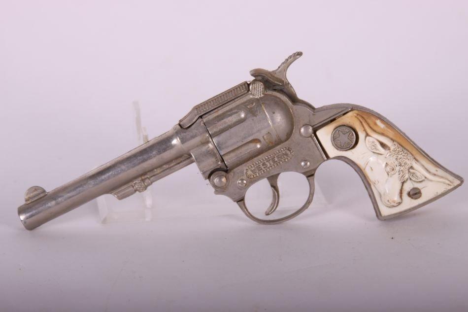 Pr of Hubley, Die Cast, Western Cap Guns w/ White Steer - 5