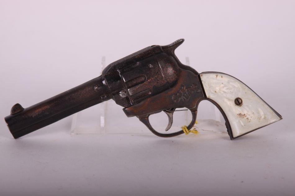 Pr of Kenton, Cast Iron, Gene Autry Cap Guns, White - 3