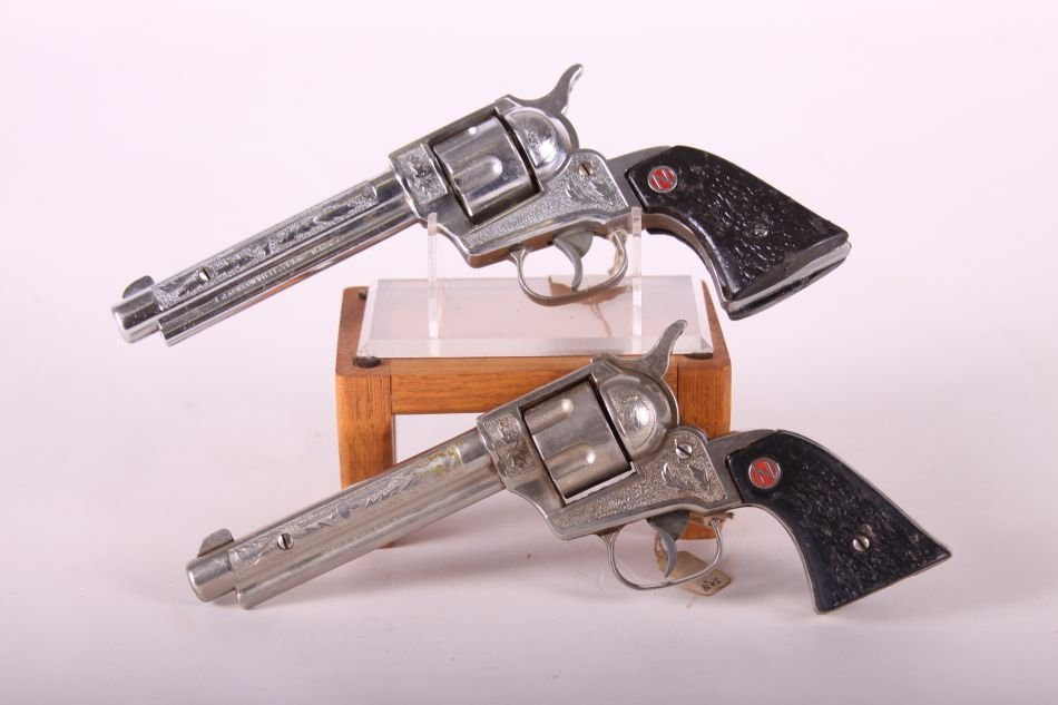 Pr. Of Nichols Stallion .38 Cap Guns, Die Cast, Black