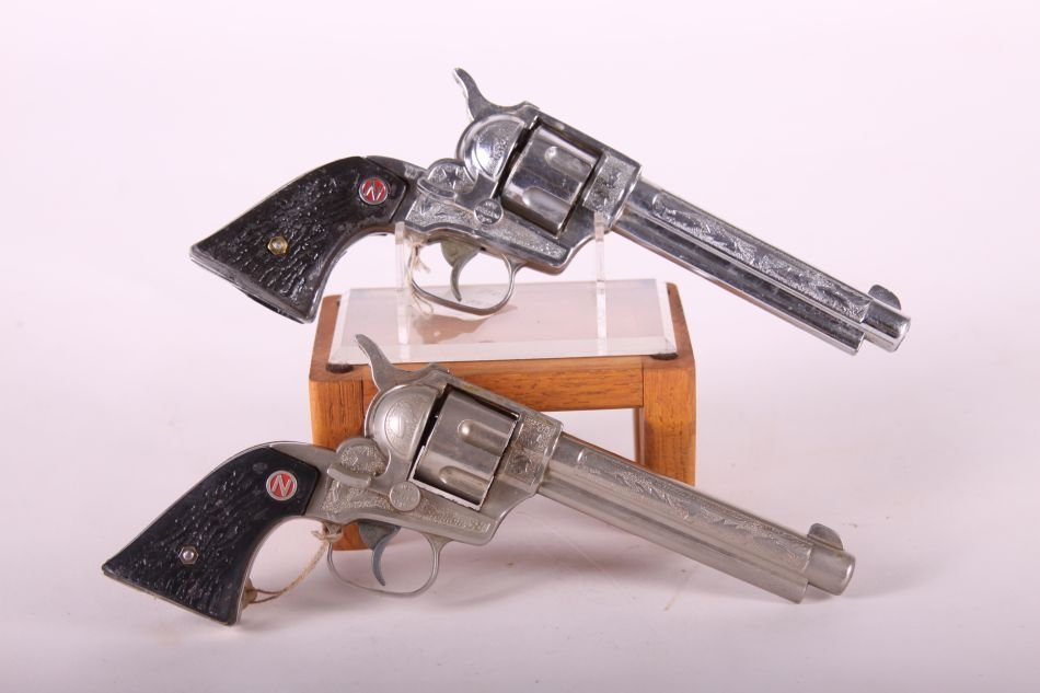 Pr. Of Nichols Stallion .38 Cap Guns, Die Cast, Black - 2