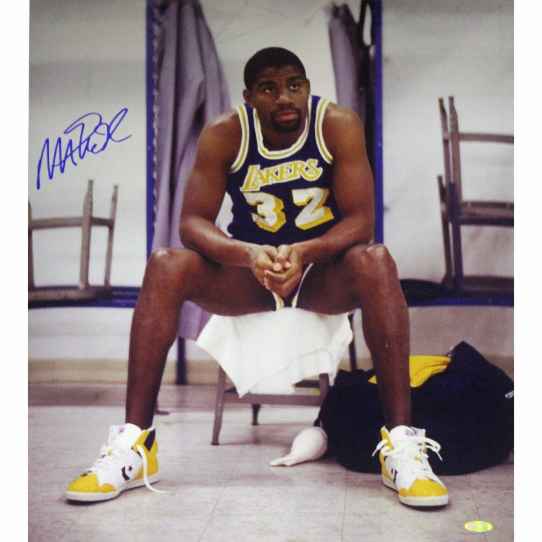 Magic Johnson Sitting on Chair Lakers Purple Jersey Ver
