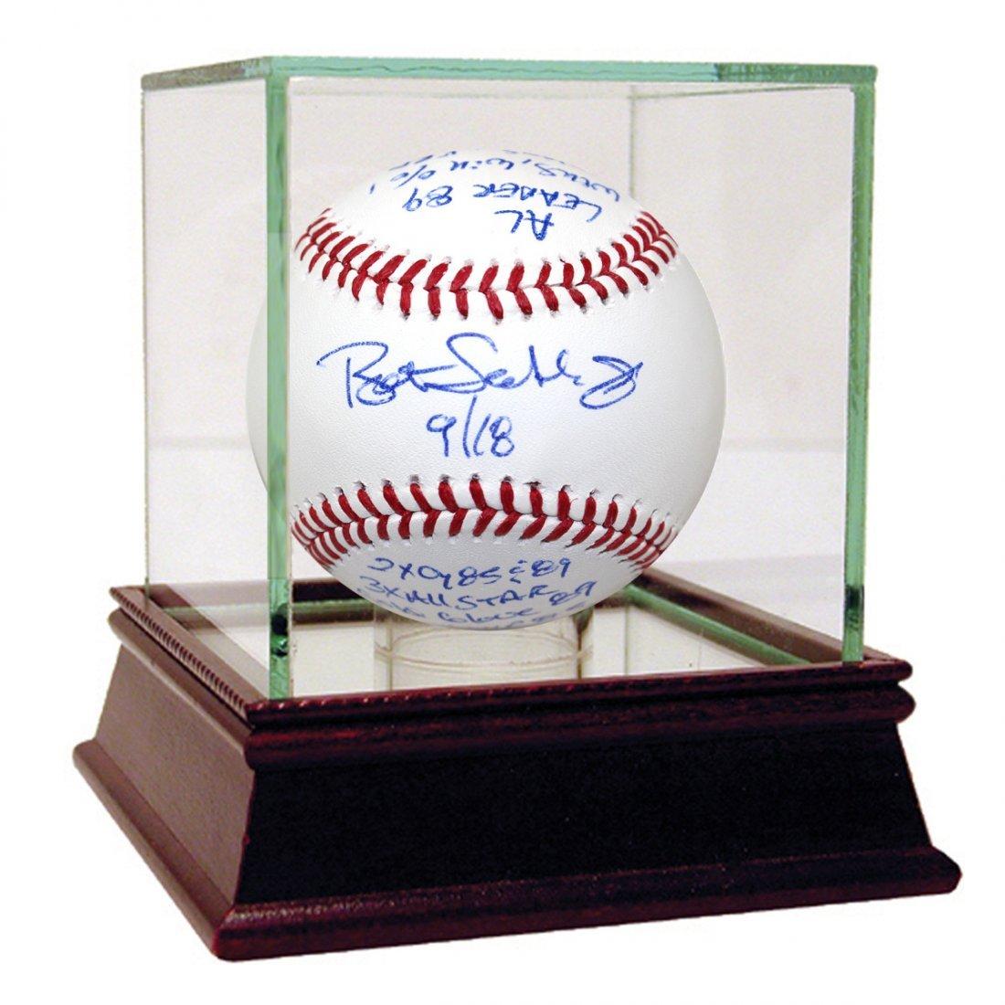 Bret Saberhagen Signed & Inscribed Stat Baseball (LE/18