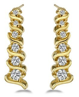 14KT Gold 0.5 ct Diamond Earrings   Featuring 6 Grams o
