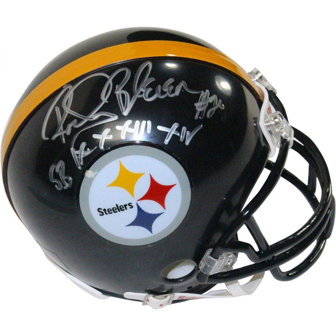 "Rocky Bleier Signed Steelers Mini Helmet w/ ""SB IX, X,"