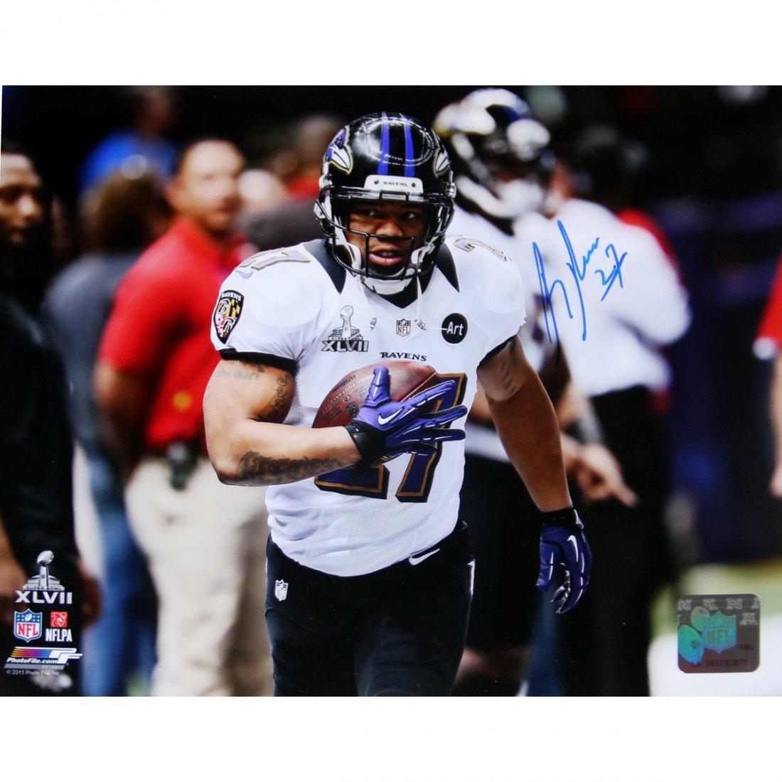 Ray Rice Super Bowl XLVII Signed 8x10 Photo (PF)