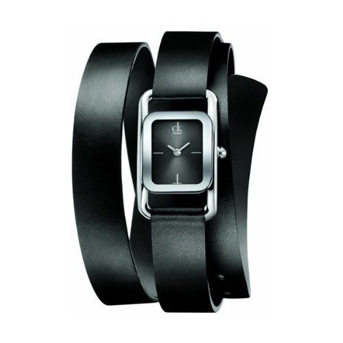 Stainless steel case, Leather strap, Black dial, Quartz