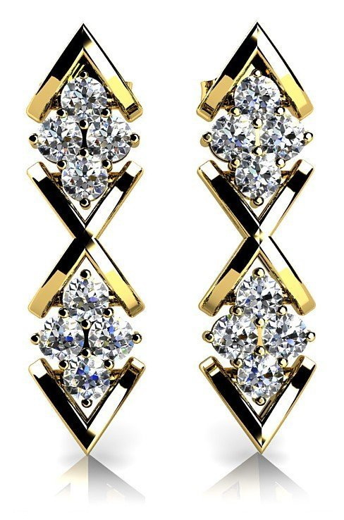 14KT Gold 0.8 ct Diamond Earrings   Featuring 6 Grams o
