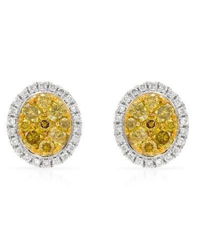 14KT  WHITE GOLD MEN'S 0.47 DIAMOND, YELLOW DIAMOND EAR