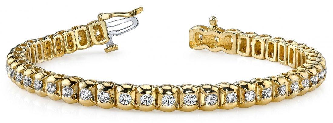 14KT Gold 2 ct Diamond Bracelet Featuring 18.9 Grams of