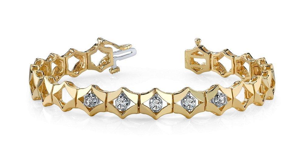 14KT Gold  ct Diamond Bracelet Featuring 17.6 Grams of
