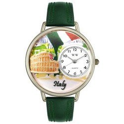 Italy Hunter Green Leather And Silvertone Watch #U14200