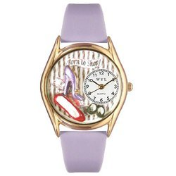 Shoe Shopper Lavender Leather And Goldtone Watch #C1010
