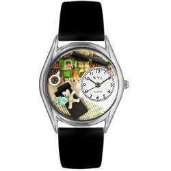 Psychiatrist Black Leather And Silvertone Watch #S06400