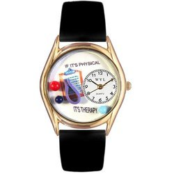 Physical Therapist Black Leather And Goldtone Watch #C0