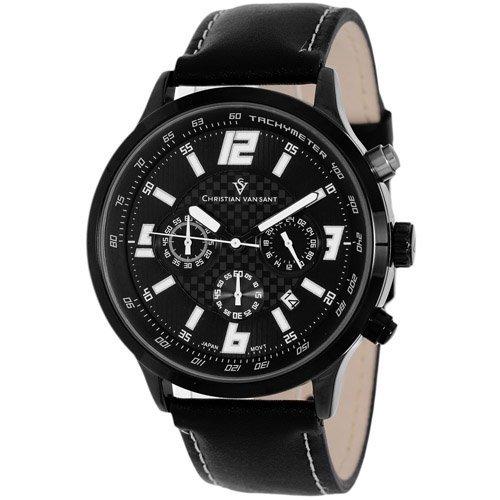 Alloy case, Leather strap, Black/Silver chronograph dia