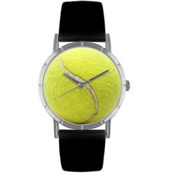 Tennis Lover Black Leather And Silvertone Photo Watch #