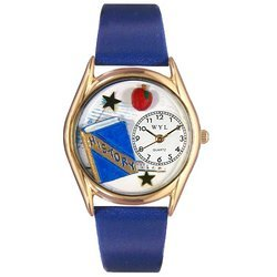 History Teacher Royal Blue Leather And Goldtone Watch #