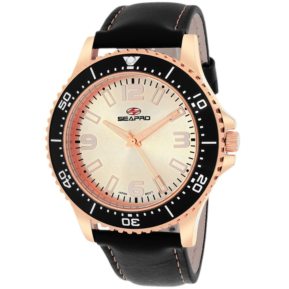 Stainless steel case, Leather strap, Rose Gold dial, Qu