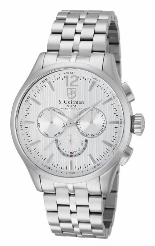 S. Coifman Men's SC0126 Quartz Chronograph Metallic Whi