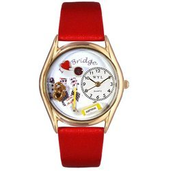 Bridge Red Leather And Goldtone Watch #C0430005