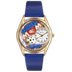 Soccer Mom Royal Blue Leather And Goldtone Watch #C1010