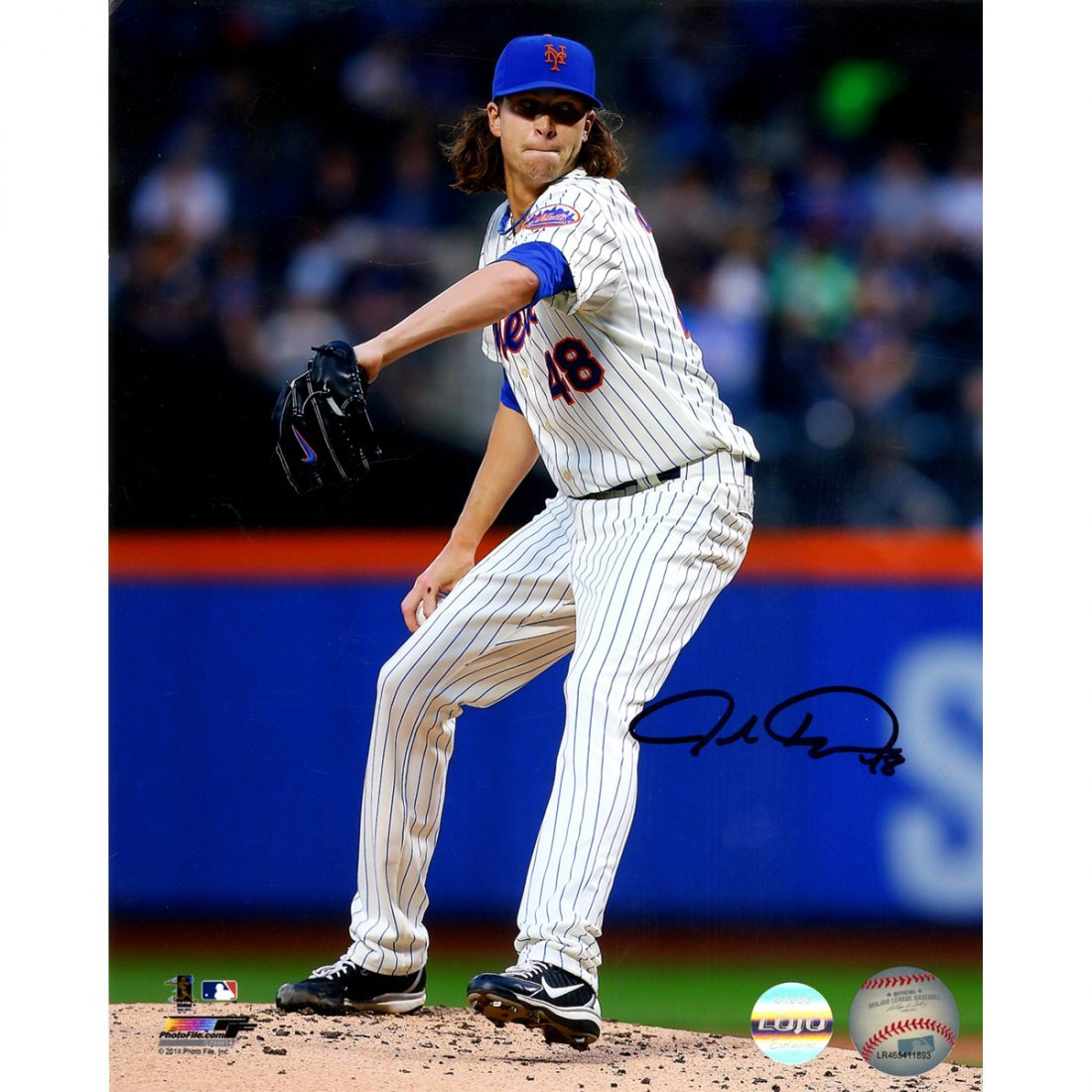 Jacob deGrom Signed New York Mets Vertical Pitching w/