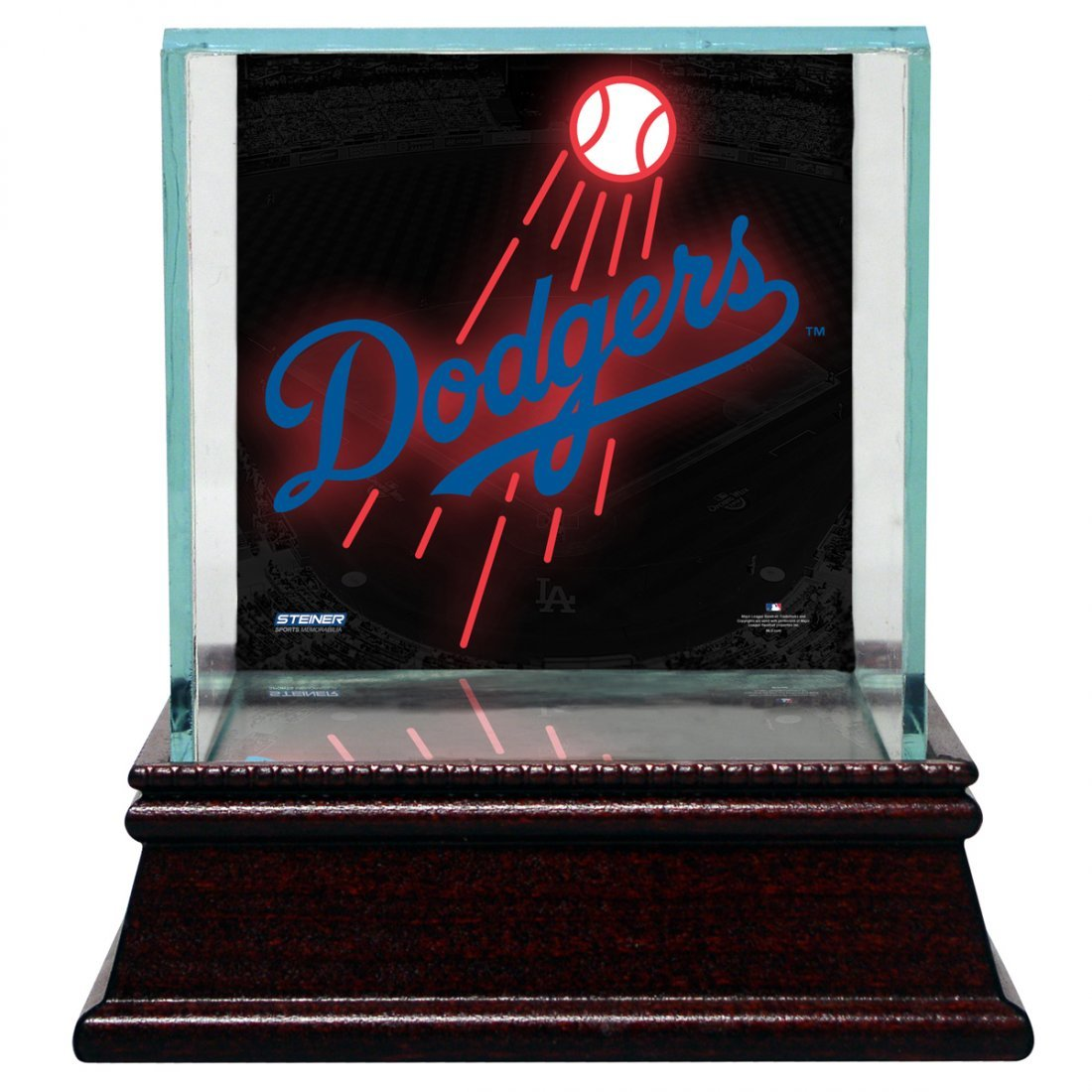 Los Angeles Dodgers Glass Single Baseball Case with Tea