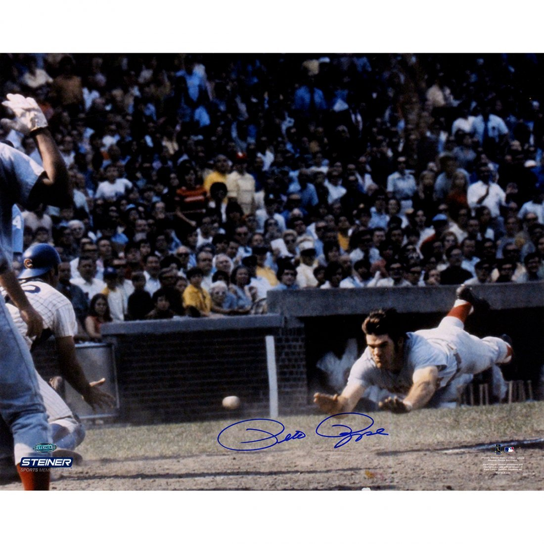 Pete Rose Signed Sliding into Home Plate 16X20 Photo