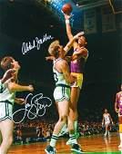 Larry Bird and Kareem Abdul-Jabbar Signed Celtics vs La