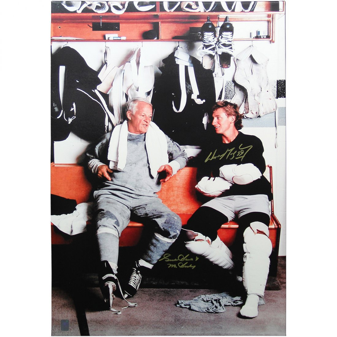 Wayne Gretzky and Gordie Howe Signed and Framed Canvas