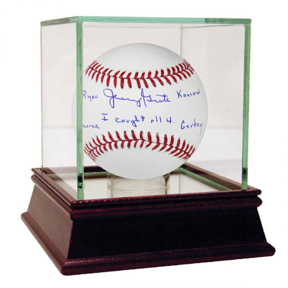 Jerry Grote Signed MLB Baseball w/ I caught all 4. Rya
