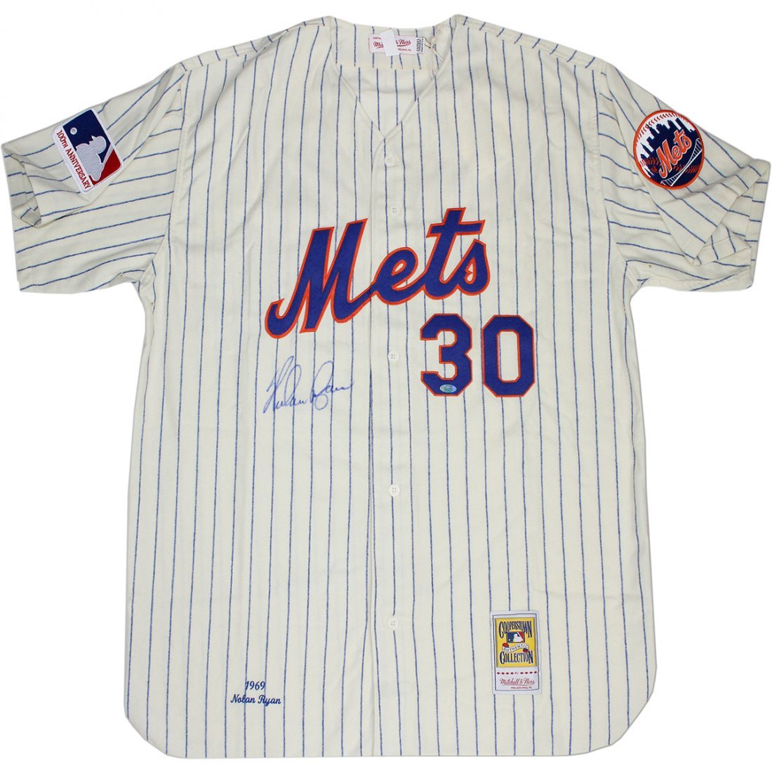 Nolan Ryan Signed  Mets Home Mitchell & Ness Jersey