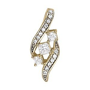 14K Gold 0.599 ctw Square Diamond Pendant.  Brand New!