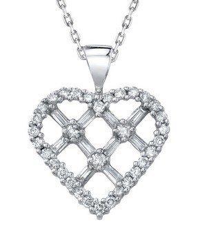 14KT  WHITE GOLD WOMEN'S 1 DIAMOND PENDANT.  Features 3