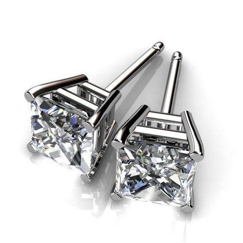 4 Prong 14K White Gold 1 ctw Princess Diamond Stud Earr