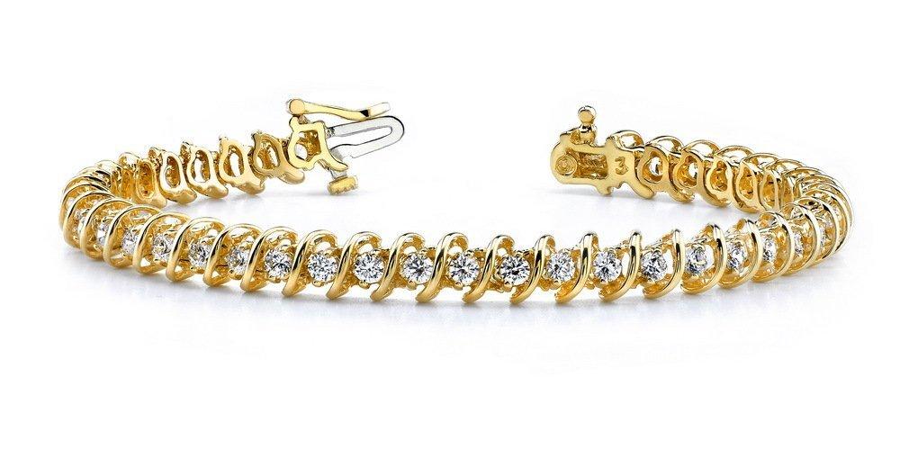 14KT Gold 10 ct Diamond Bracelet Featuring 28.2 Grams o