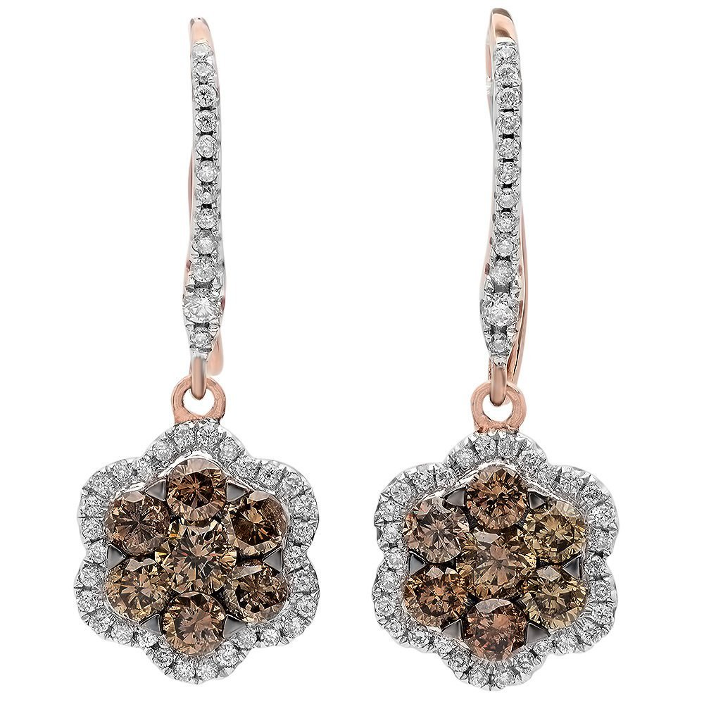 14KT  ROSE GOLD WOMEN'S 1.41 DIAMOND & BROWN DIAMOND EA