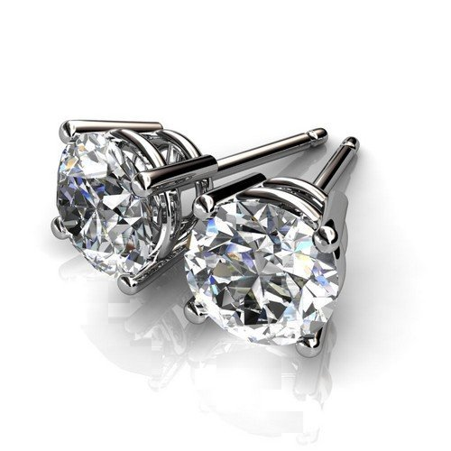 4 Prong 14K Yellow Gold 1 ctw Round Diamond Stud Earrin